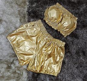 Conjunto Short + Cropped Metalizado Dourado Festas 2019