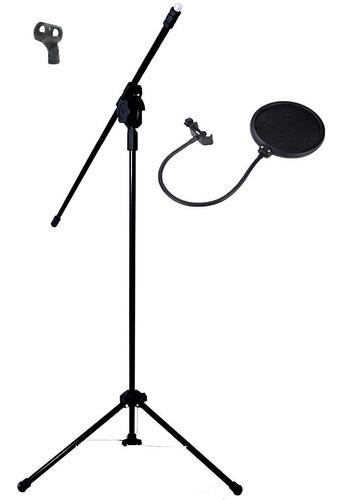 Pedestal P/ Microfone Visão Pmb C/ Cachimbo E Pop Filter Kit