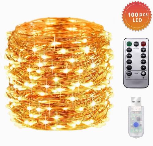 Imagen 1 de 7 de Serie Luces Decorativas Tira Led 10m 100led Control Ip65