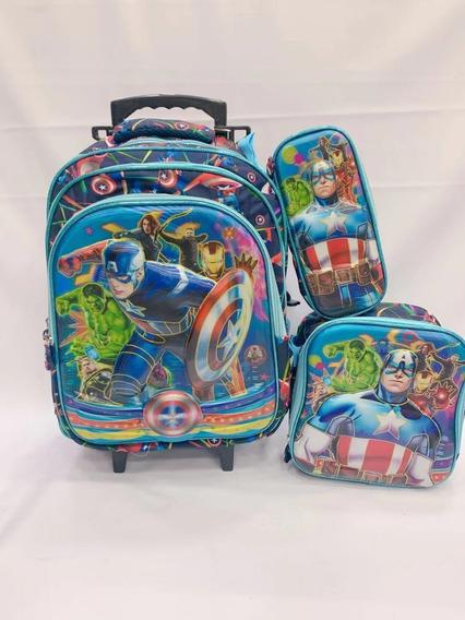 Kit Mochila Capitao America Infantil Rodinhas 2 Em1 6d 2019