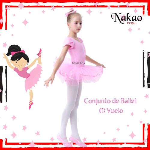 Ballet Conjunto 7 Piezas Manga Corta Y Tutú 1 Vuelo - Rosado