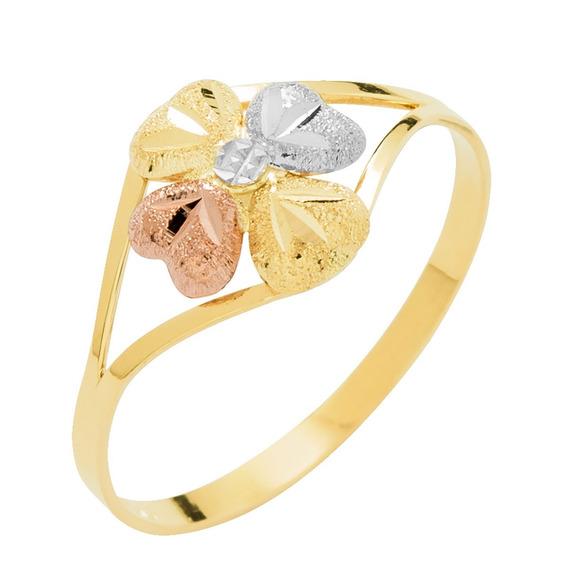 Anel Ouro 18k Feminino Tricolor Florzinha - Envio Rápido