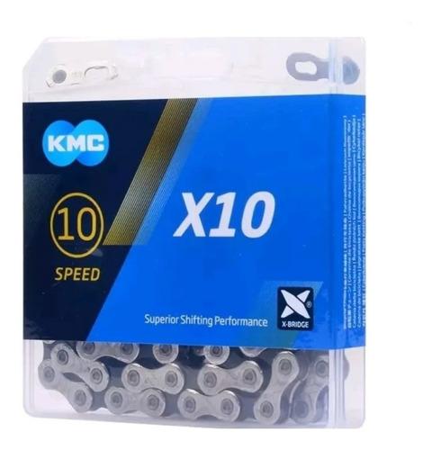 Corrente Kmc X10 Fina 116 Elos C/ Emenda Compativel Shimano