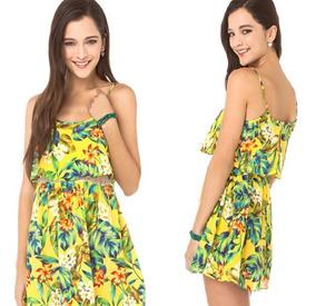 Vestido Florido Feminino Básico Estampado Moda Praia Floral