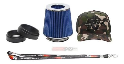 Filtro De Ar Esportivo K&n Duplo Fluxo Rg1001bl Ajustavel Azul Rg-1001bl Chaveiro K&n Brinde
