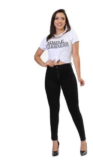 Calça Jeans Feminina Preta Cintura Alta Hot Pants Biotipo