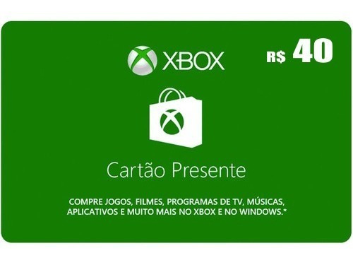 Microsoft Gift Card R$40 Cartão Presente Xbox Live Br Brasil