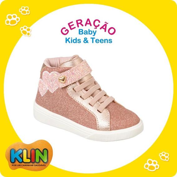 Tênis Infantil Sneaker Klin Ouro Rosa Tamanho 27 - 21000