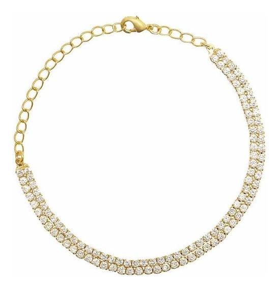 Pulseira Ouro 18k Com Diamante Sintético Banho C Garantia