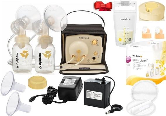 Extractor Leche Materna Medela Doble Electrico Pilas + Kit