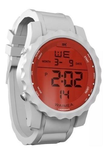 Relógio Digital Emborrachado Branco Masculino 18k Promoção