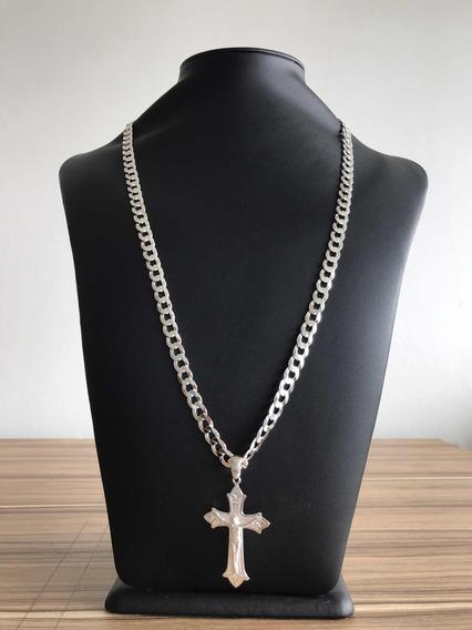 Cordão 8mm 70cm De Prata Escama Crucifixo E Brinde De Prata
