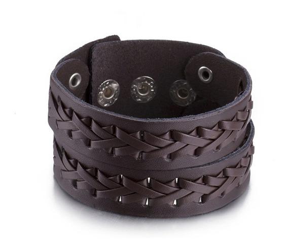 Pulseira Bracelete Couro Masculina E Feminina - Forma Dupla