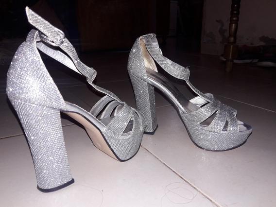 Zapatos De Fiesta Plateados T37