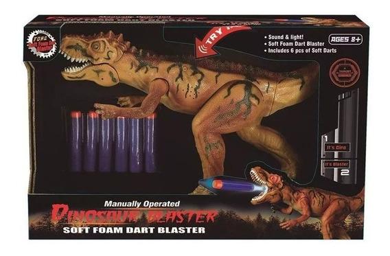 Dino Attack Marrom C/luz Som E Lança Dardos Multikids Br101