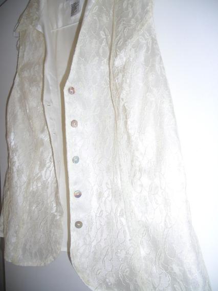 Camisa Dama Talla 12 De Lujo Con Encajes Forrada Color Crema