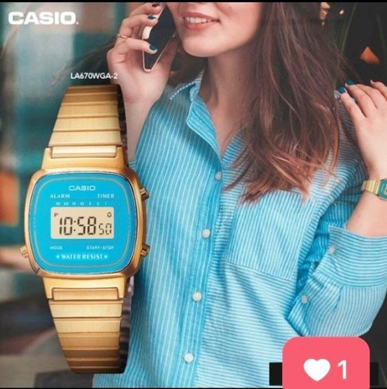 Relógio Feminino Casio Vintage Azul Mini La670wga-2df