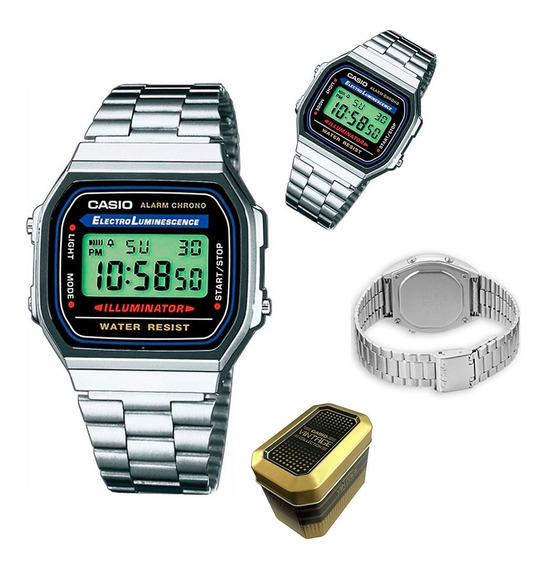 Nuevo Reloj Casio Vintage Original A168wa-1vt Time Square