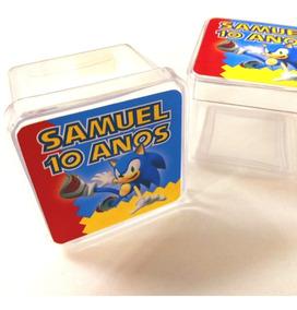 10 Caixinhas Acrilicas 5x5 3d Personalizado - Sonic