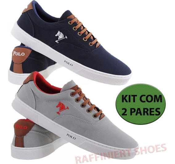 Tenis Sapatenis Sapato Polo Kit 2 Pares Wear Casual