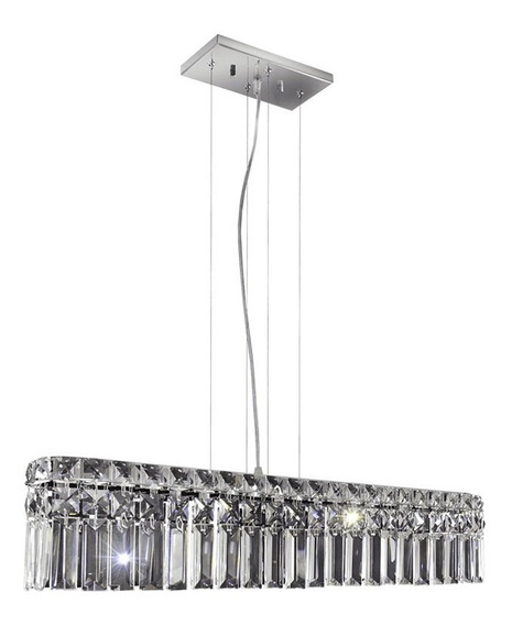 Pendente Paris Cristal Transparente Retangular 4 Lâmpadas Bronzearte