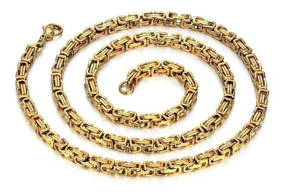 Cordão+pulseira Grosso Peruano Banho Ouro 18k Ostentação