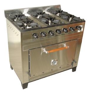 Cocina Industrial 6 Hornallas Con Horno Refractario A Gas Eg