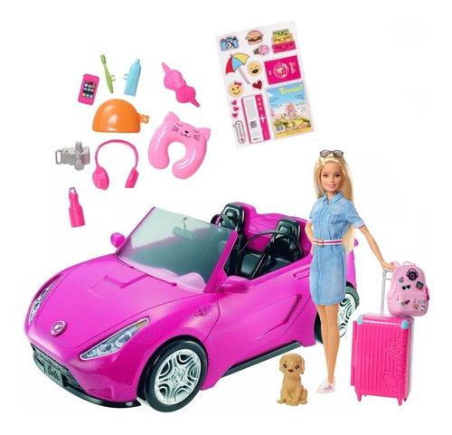 Combo Barbie Vamos De Viaje Fwv25 Con Convertible Dvx59