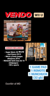 Vendo Nintendo Wii U Deluxe 32gb + 5 Juegos + 3 Controles