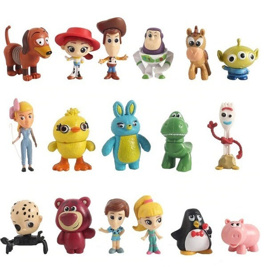 Kit Miniaturas 17 Personagens Toy Story 4 Disney 3-5cm