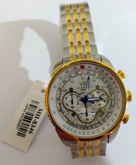 Relógio Vip Mh-8346 Fundo Branco Pulseira Mista Promoção