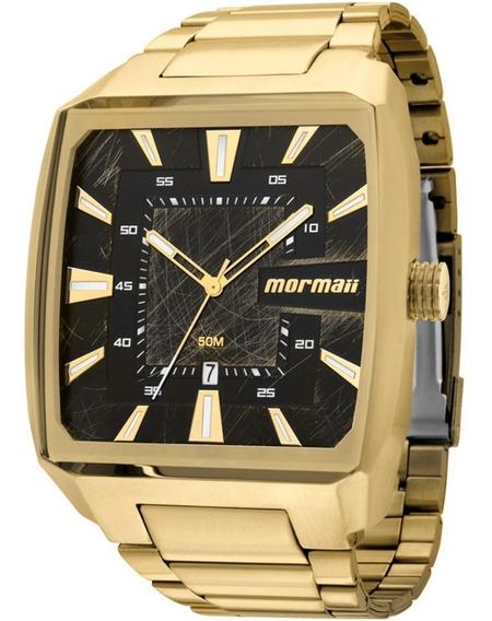 Relógio Quadrado Dourado Mormaii Masculino Mo2315am/3p + Nf