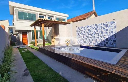 Lançamento! Casa Meio Terreno/ 04 Quartos, Piscina/varanda Gourmet, Recreio/rio Das Ostras! - Ca1173