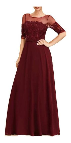 Vestido Largo De Fiesta Elegante Rojo Con Piedras/ Gala/boda