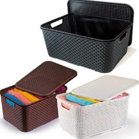 Caixa Organizadora Plástica Rattan 7 Litros Kit 6 Peças Mix