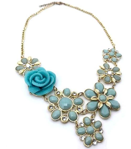 Collar Con Flores Y Cristales