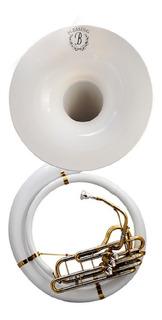 Tuba Sousafon Blesing Fibra De Vidrio Blanca C/estuche Rig.