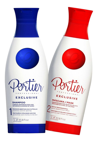 Escova Portier Exclusive Definitiva Alisamento Natural 2x1l