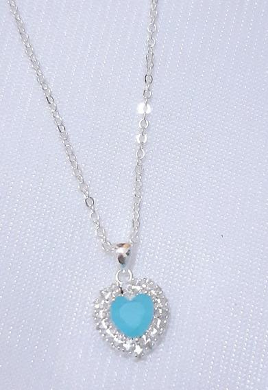Coração Azul Pingente Com Corrente Banhados A Prata