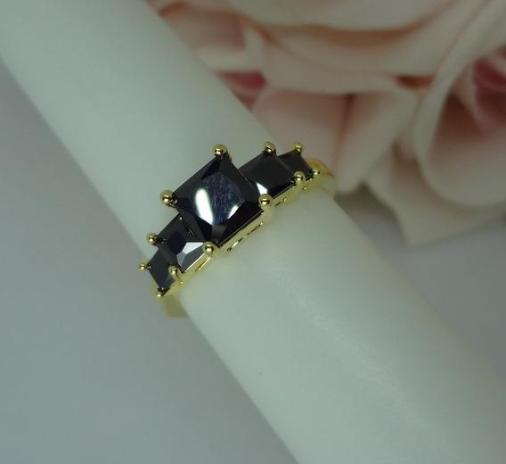 Anel De Formatura Folheado A Ouro Zirconi Negra Aro 21 Nf 7