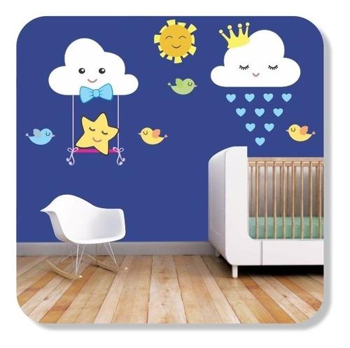 Imagem 1 de 3 de Adesivo Decorativo Nuvens Menino Balanço Quarto Bebê Benção