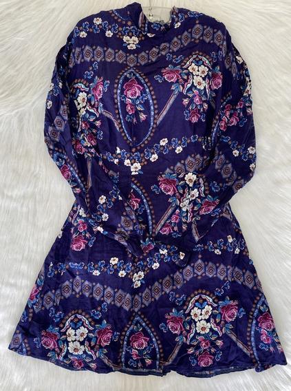 Vestido Manga Longa Azul Floral Com Roxo Decote Costas Tam M