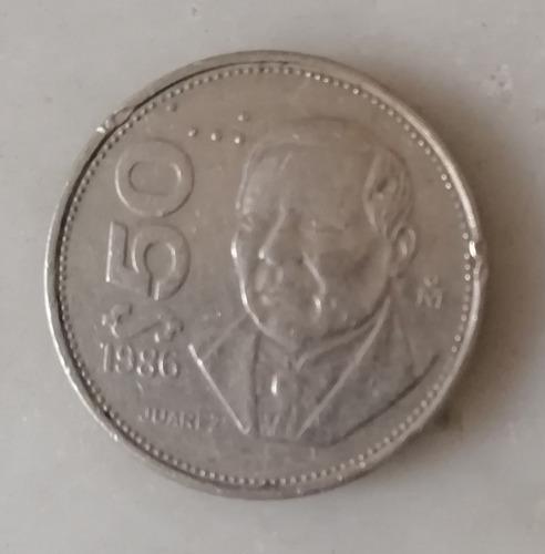 Imagen 1 de 2 de Moneda 50 Pesos Juarez 1986 Fecha Escasa Bien Conservada.