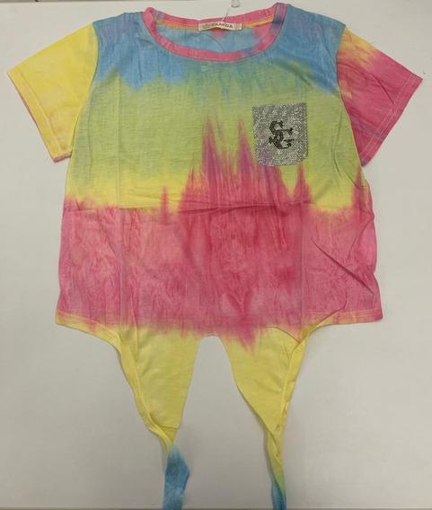 Blusinha Colorida Tie Dye Feminina Modinha Cropped Nózinho