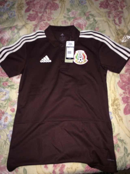 Playera Tipo Polo De Mexico 2018, Original Color Vino!!