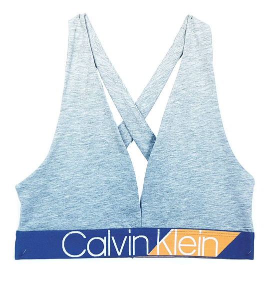 Sutiã Top Calvin Klein Triângulo Tiras Cruzadas Monograma El