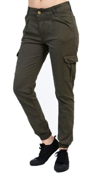 Pantalon Cargo Mujer Chupin Verde Militar Tiro Alto