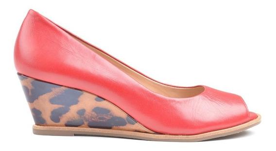 Zapatos De Mujer De Cuero Taco Chino Marlin Rojo - Ferraro