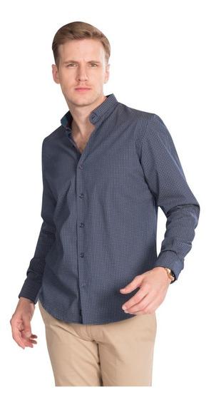 Camisas Hombre Azul Casual Estampada Slim Fit Moda B85322