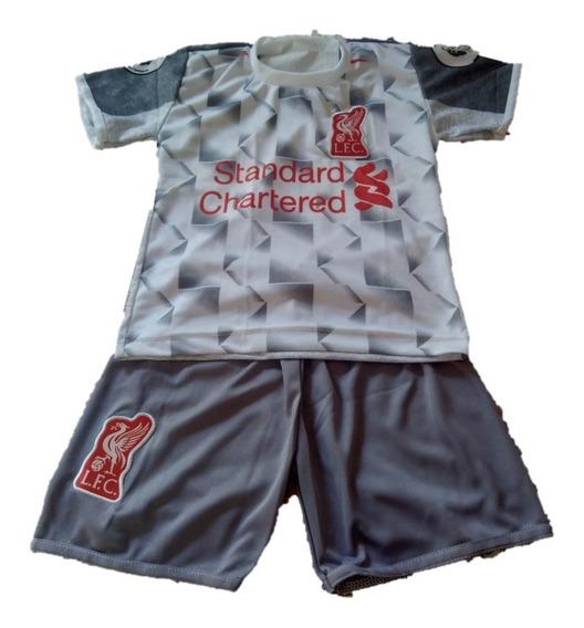 Novo Conjunto Uniforme Infantil Liverpool Preta De Criança